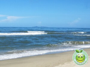 Lindas playas de Sambo Creek, Honduras, al fondo se ven Los Cayos Cochinos.