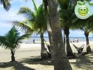 Turistas en playas de Tela