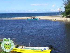 Vista del Rio Lancetilla y el mar desde el puente nuevo de Tela Honduras