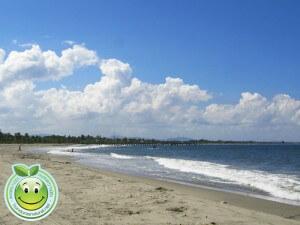 Linda vista de la playa de Tela y el muelle a lo lejos.